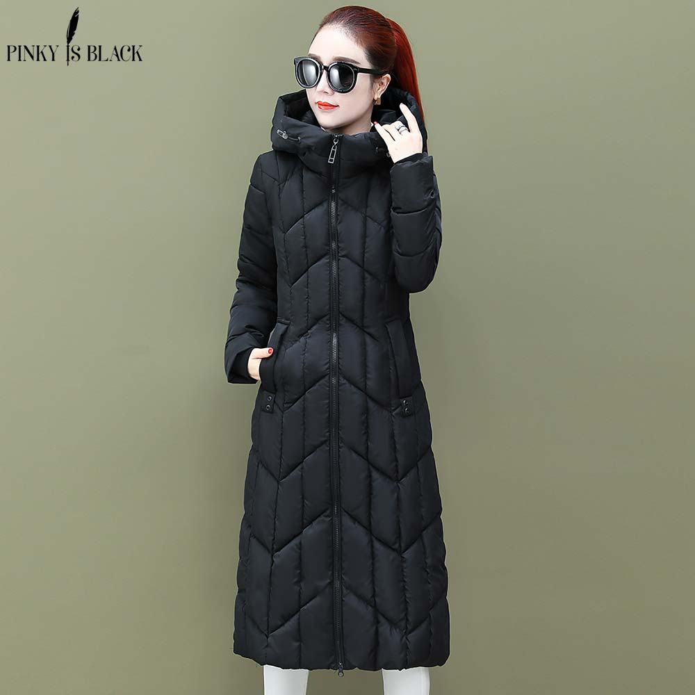 PinkyIsBlack Winter Jackets And Coats 2019 Hooded Long Parkas For Women Wadded Jacket Warm Hooded Quilting Winter Jacket Women