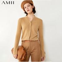 Amii Minimalism Winter Cardigans For Women Fashion 100%Cashmere Solid Single breasted Women's Sweater Female Cardigan 12040330
