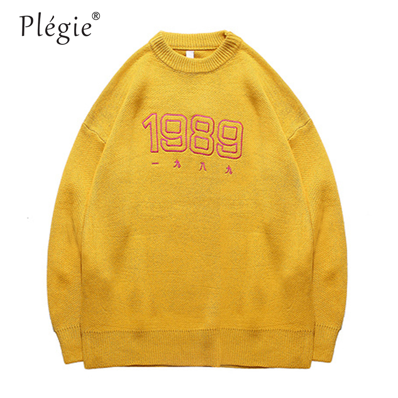 Plegie Sweaters Mens Pullover O-neck 1989 Sweaters Solid Color Hip Hop Knitted  Winter Unisex Oversize Streetwear Korean Style
