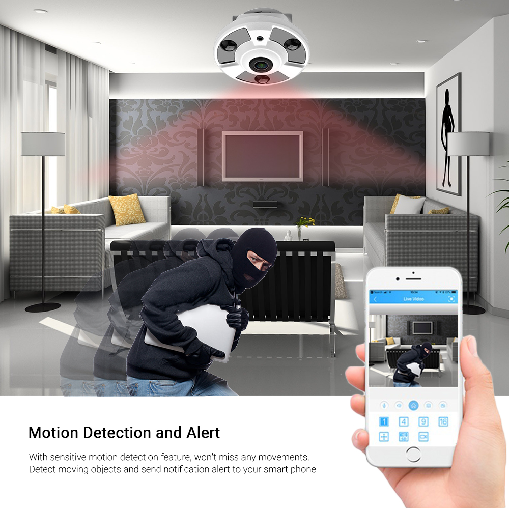 Image 5 - Hamrolte H.265 IP Camera 1.7MM Fisheye Lens Hi3516D 5MP Panoramic ONVIF IP Camera Xmeye Could Phone View DC12V POE48V Optional-in Surveillance Cameras from Security & Protection