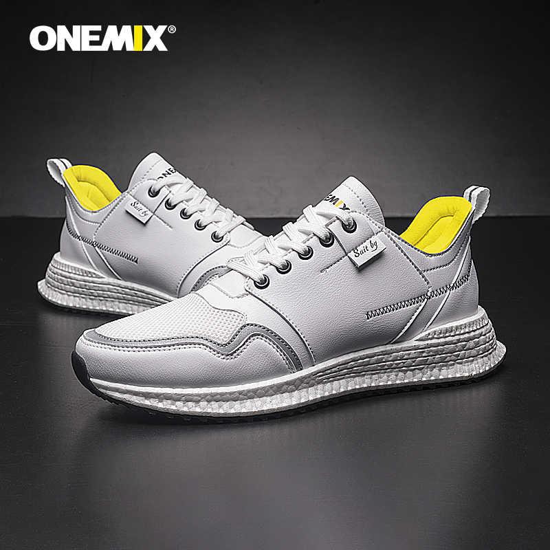 ONEMIX yeni erkekler açık koşu ayakkabıları mikrofiber deri üst rahat yürüyüş Retro ayakkabı açık spor ayakkabı eski ayakkabı