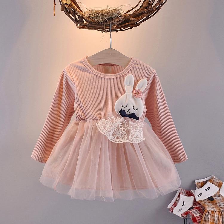 Осеннее платье для новорожденных; Хлопковое платье для малышей с ананасом; нарядные платья для девочек; Модная одежда для маленьких девочек - Цвет: Pink