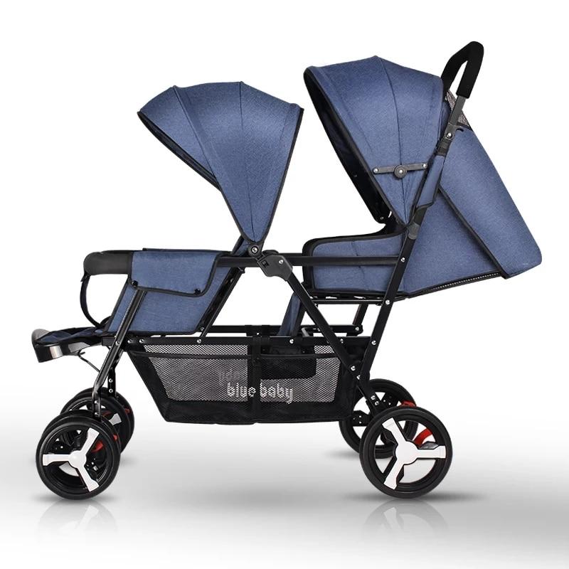 Twin Baby Stroller Folding Double Stroller Can Sit Lying Lightweight Newborn Pram Portable Kids Mutiple Stroller Travel System