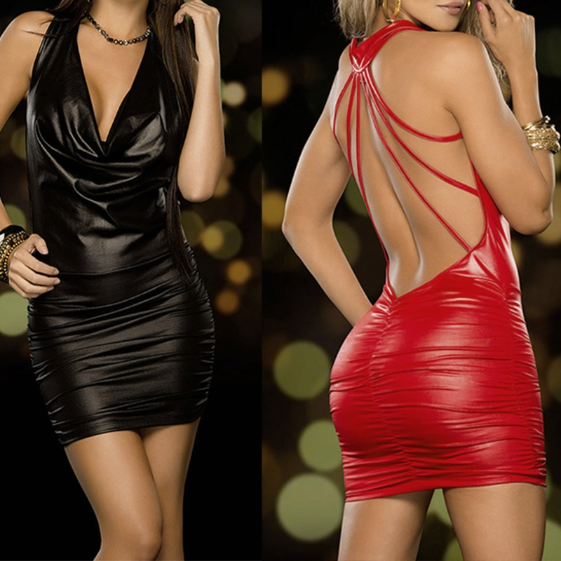 Women Sexy Black And Red Wet Look Backless Bandage Faux Leather Bodycon Dress image