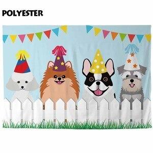 Image 3 - Allenjoy cani di compleanno fotografiche sfondi recinzione erba bambini fumetto della decorazione del partito photocall boda photophone sfondo