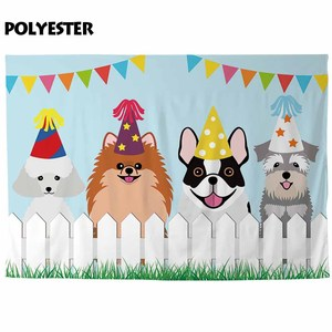 Image 3 - Allenjoy dogs birthday photographic backgrounds fence grass kids cartoon party decoration photocall boda photophone backdrop
