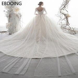 Image 2 - Sang Trọng Bầu Áo Cưới Vestidos De Novia Hoàng Gia Tàu Mới Nhất Dài Plus Kích Thước Cô Dâu Đầm Váy Cưới Cô Dâu Đầm