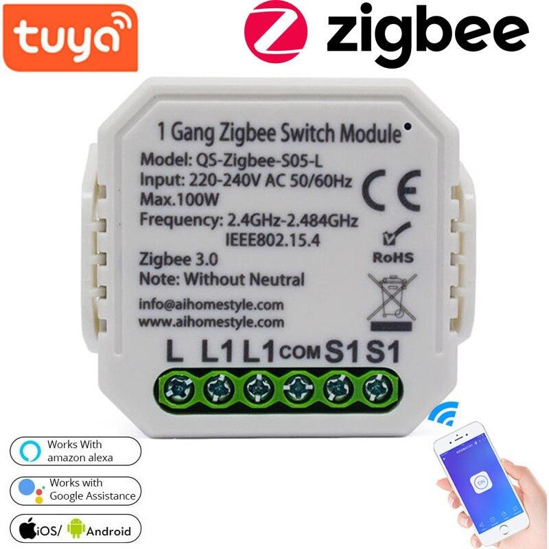 Tuya ZigBee anahtar modülü akıllı ev dönüştürülmüş modülü yok/nötr kablosuz ışık anahtarı çok amaçlı alet