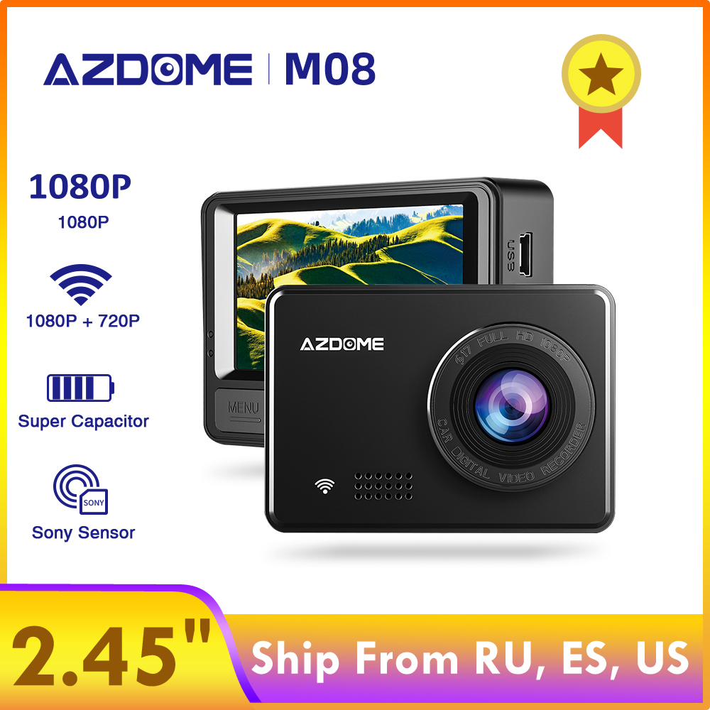 "AZDOME M08 1080P Super Capacitor Dash Cam 2.45"" IPS Car Camera with WiFi WDR Sony Sensor Car DVRs Recorder Night Vision Dashcam"