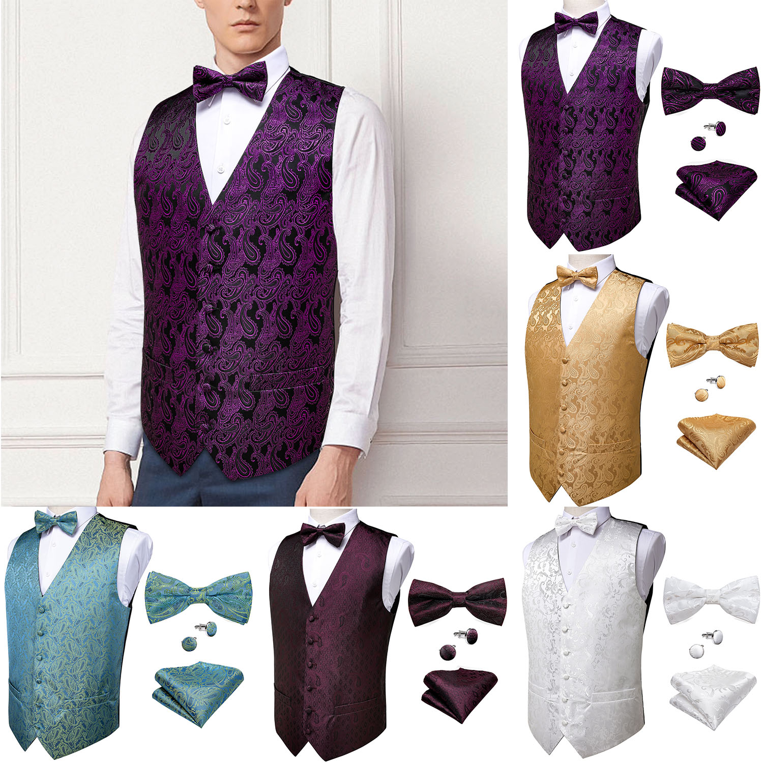 Mens Classic Purple Gold Paisley Jacquard Folral Silk Waistcoat Vests Handkerchief Bow Tie Vest Suit Pocket Square Set DiBanGu