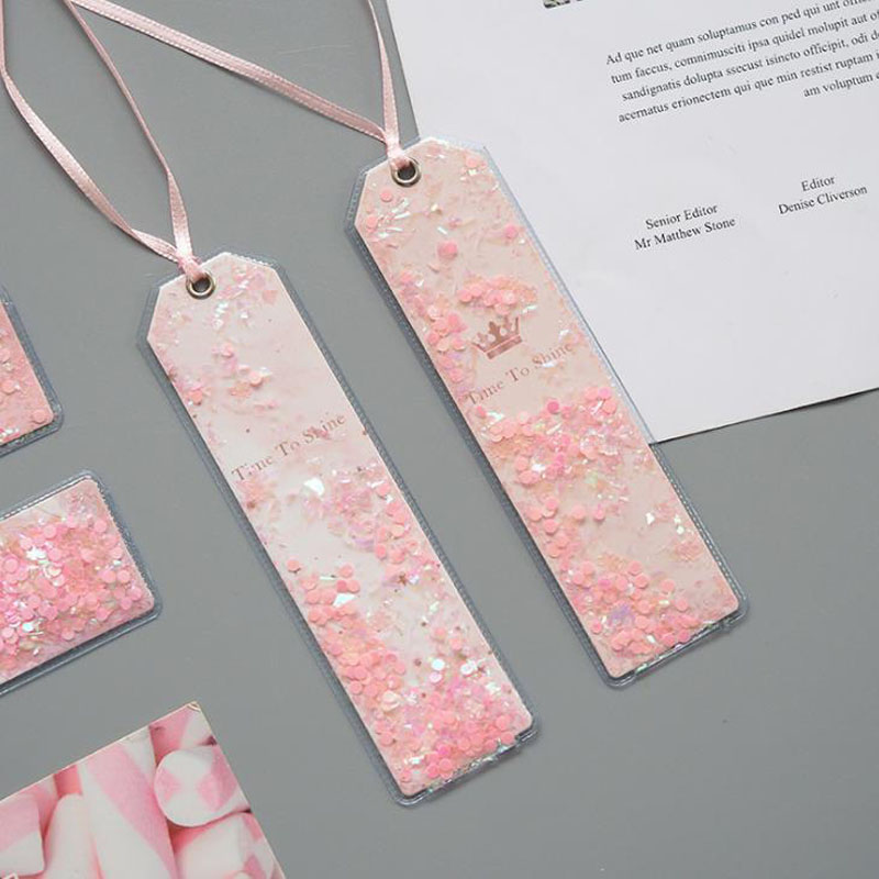 1 Pcs Lovely Cherry Blossoms Sakura PU Glitter Sequins Bookmarks For Book Marker Page Holder Stationery School Office Supply
