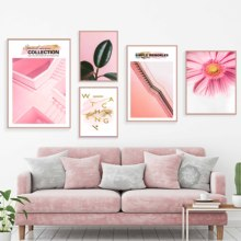 Abstract Pink Flower Plant Wall Art Canvas Painting Nordic Poster Prints Pictures For Living Room Pop Decor