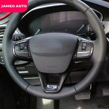 Jameo السيارات 2 قطعة ABS كروم ألياف الكربون عجلة القيادة لوحة غطاء للحماية ملصقات الكسوة لفورد فوكس 2019 2020 اكسسوارات