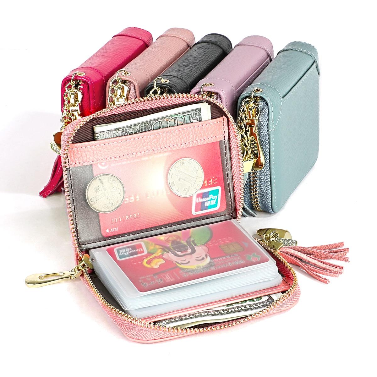Luxury Split Leather Tassel Credit Card Holders  RFID Card Holder Wallet Women Business Cardholder Organizer Female Purse