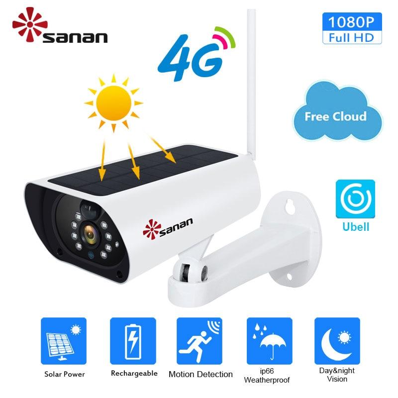 Sanan ao ar livre câmera ip solar wifi 4g sim cartão com painel solar alimentado por bateria serviço de nuvem livre 1080 p segurança cctv câmera