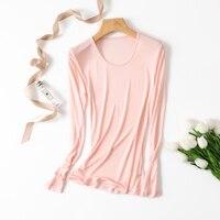FALL WINTER 100% Real Silk plus size long sleeve shirt women t shirt tshirt thermal tops women tops underwear tee shirt