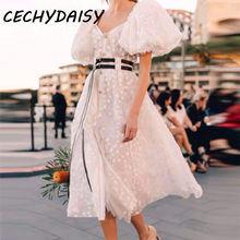 Summer Dress 2020 Runway Women Vintage Sexy Square Collar Party Night Club Maxi Dresses Chic White Clothes ropa mujer robe femme()