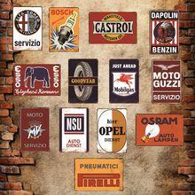 Automotores, servicio de neumáticos de aceite, carteles de Metal Vintage, cartel de estaño Retro, placas decorativas, pegatinas de pared, Bar, decoración de garaje