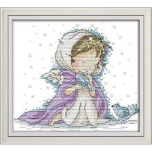 Joy Sunday Angel With Two Birds  Paintings Counted Printed On Canvas 11&14CT Cross Stitch Kit Handmade Embroidery for Needlework joy sunday sweetnessand poetic counted cross stitch 11