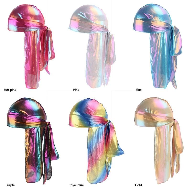 Autumn New Elastic Long Tail Hat Men Shiny Silky Durag Headband Sparkly Bandanas Colorful Hair Accessories Turban