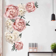 цена на Pink White Peony Rose Flowers Wall Stickers For Kids Room Living Room Bedroom Home Decoration Wall Decal Art Nursery Decals