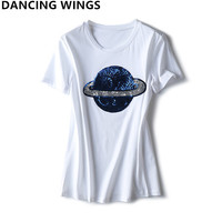Streetwear Summer All match loose tshirts for women Sequined Planet Pattern Short Sleeve Tops