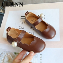 ULKNN Girls Small Leather Shoes 2020 Autumn New Fashion Children's Princess Dance Shoes Kid's Performance Pearl Shoes