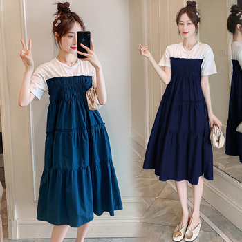 HAYBLST Brand T Shirt Dress Women's 2020 Summer Plus Size Elegant Kawaii Short Sleeves Vestidos Loose Korean Patchwork Clothing