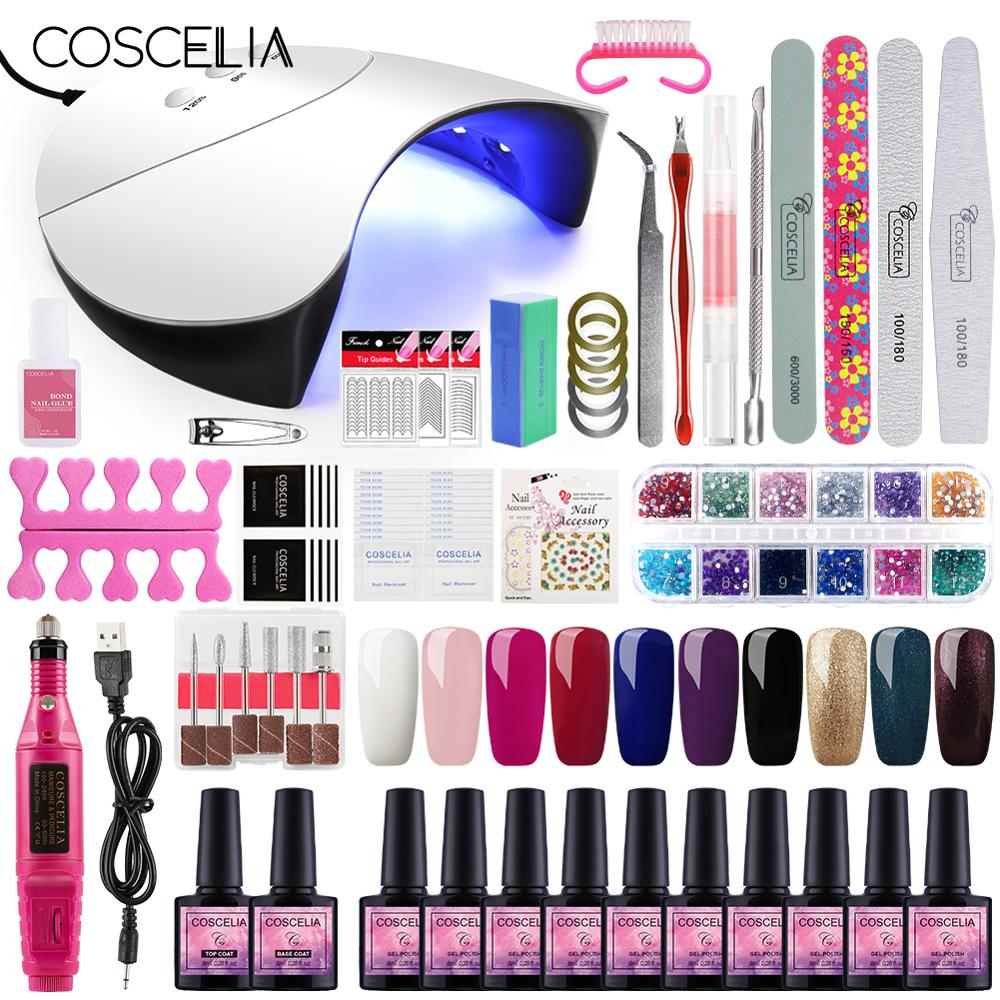 Kit Gel Manicure-Tools-Kit Nail-Set Gel-Polish Colors Dryer UV LED title=