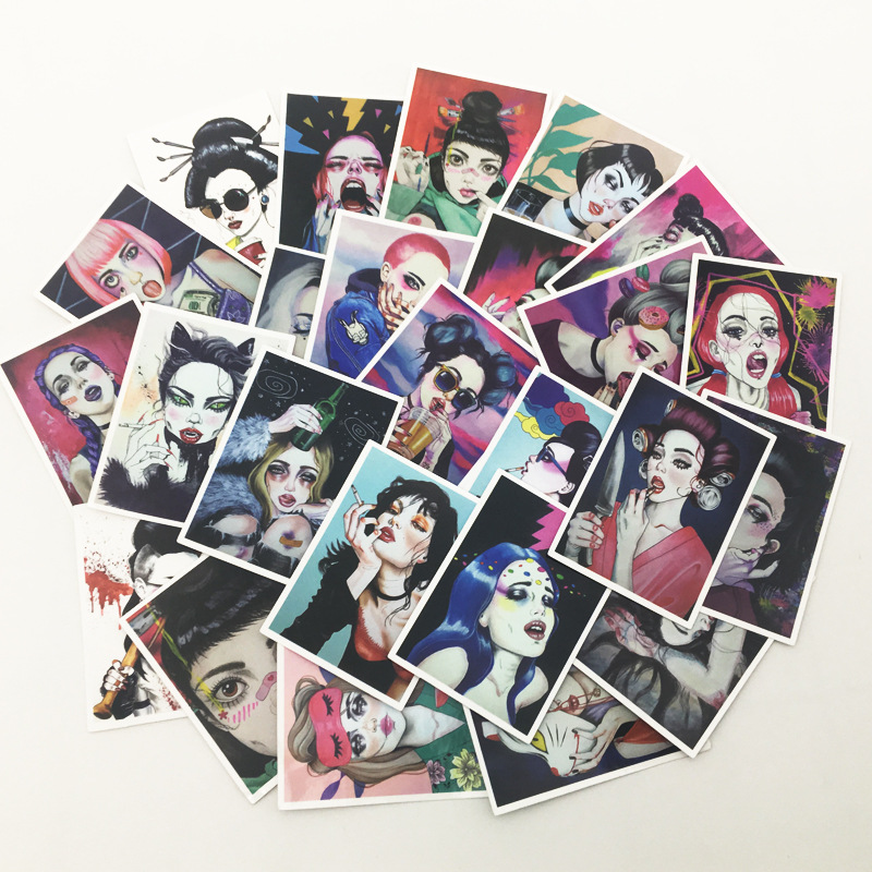25Pcs Sexy Girls Stickers for Mobile Phone Car Bicycle Skateboard Refrigerator Laptop Decals Pvc Waterproof Sticker