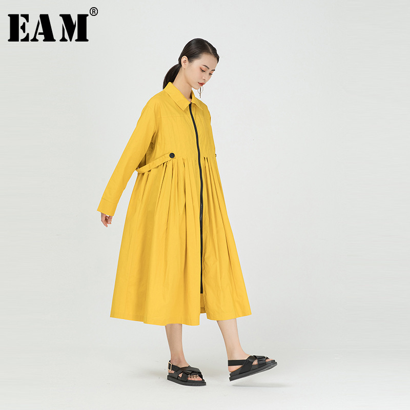 [EAM] Women Yellow Pleated Split Big Size Shirt Dress New Lapel Long Sleeve Loose Fit Fashion Tide Spring Autumn 2020 1R295