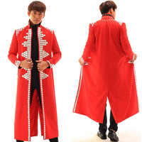 GD Bigbang Vocal Concert Stage Costumes For Singers Mens Red Long Coat DJ Outfits Nightclub Costume Male Stage Outfit BL2194