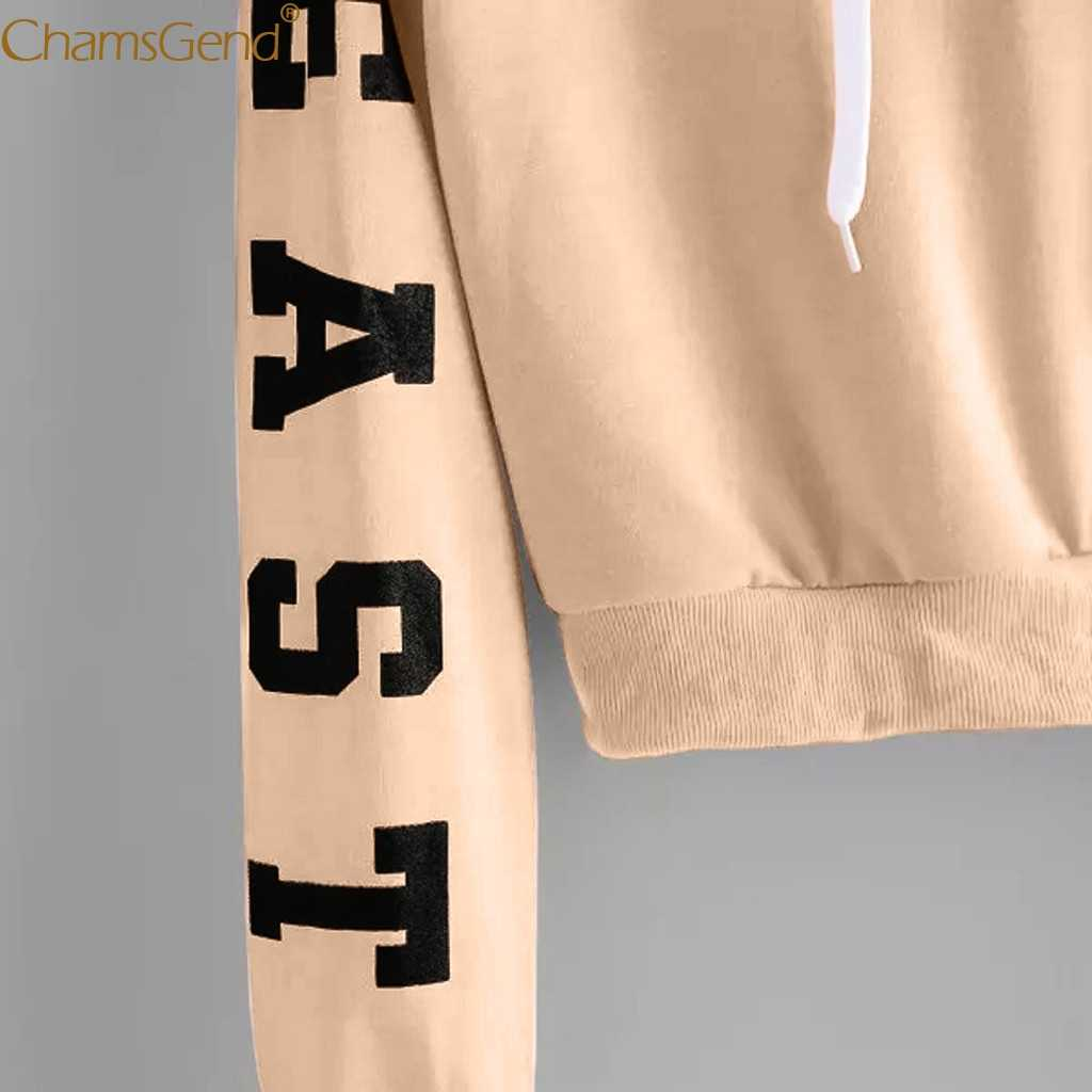 Teenager Mädchen Lange Hülse Hoodie Sweatshirt Crop Top Brief Druck Bluse Shirts Rot Khaki Gelb Frau Cropped Sweatshirts 908