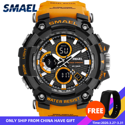 Zegarek sportowy podwójny czas mężczyźni zegarki 50m wodoodporny zegar wojskowy zegarki dla mężczyzn 1802D Shock Resisitant Sport zegarki prezenty w Zegarki cyfrowe od Zegarki na