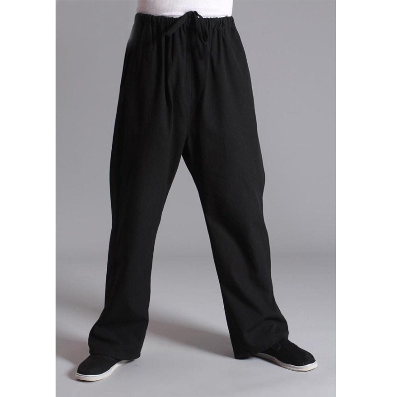 Long Trousers 100% Cotton Chinese Traditional Men's Kung Fu Pants Wu Shu Tai Chi Elastic Waist Loose Black Pants New