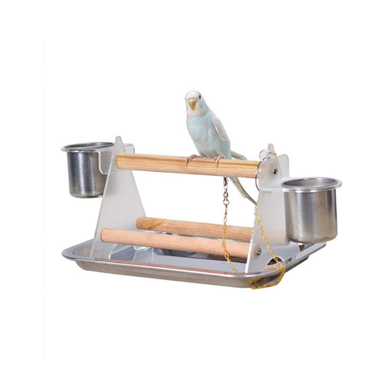 Small and medium Parrots Portable Desktop Training Frame Station Pole Feeder cup Special Solid Wood Body Shapes (Include a Tray)