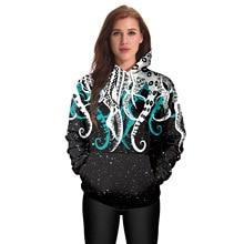 2019 Autumn and Winter New Hoodie Sweatshirt Cartoon Octopus Digital Print Loose Large Size