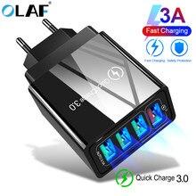48w quick charge 4.0 3.0 carregador rápido, 4 entradas carregador usb rápido qc4.0 4 qc3.0 para samsung s10 a50 xiaomi adaptador de parede para iphone x 7 mi9