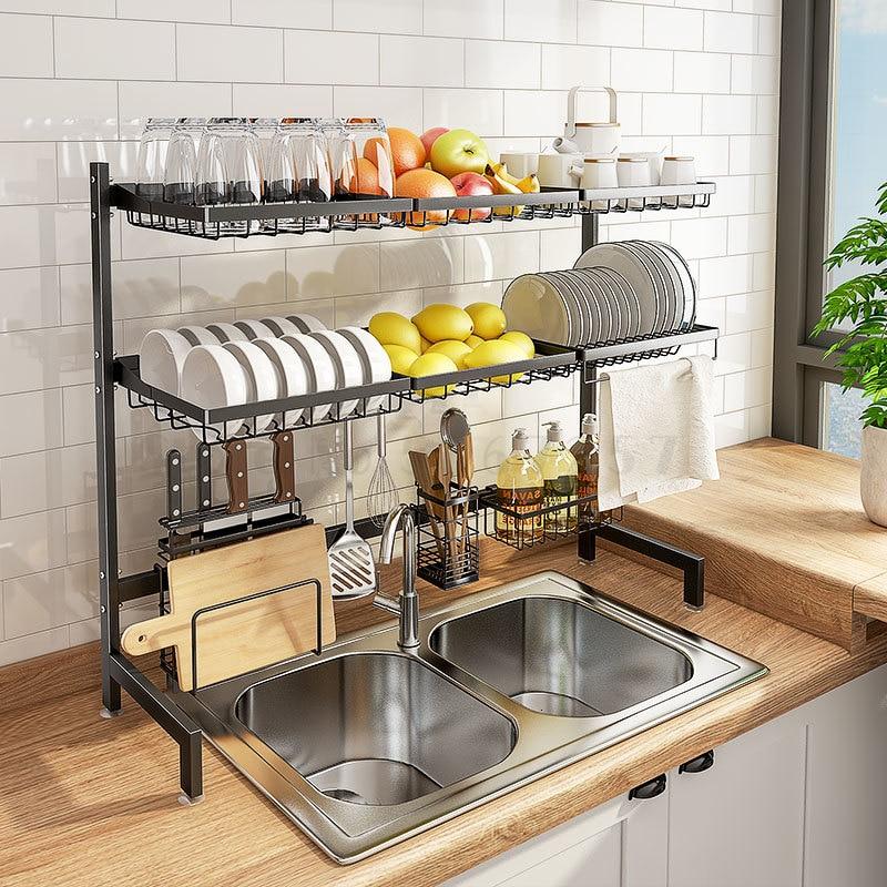 Egouttoir evier evier etagere cuisine inox dessus ménage bol égouttoir vaisselle.