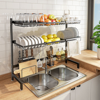Sink drain rack sink sink kitchen shelf stainless steel above household bowl rack dish rack.