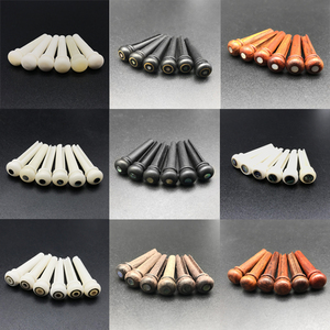 6Pcs Bone Guitar Bridge Pins Ebony Bone Rosewood Bridge Pin for Acoustic Guitar with Pearl Shell Brass Circle Guitar Accessories(China)