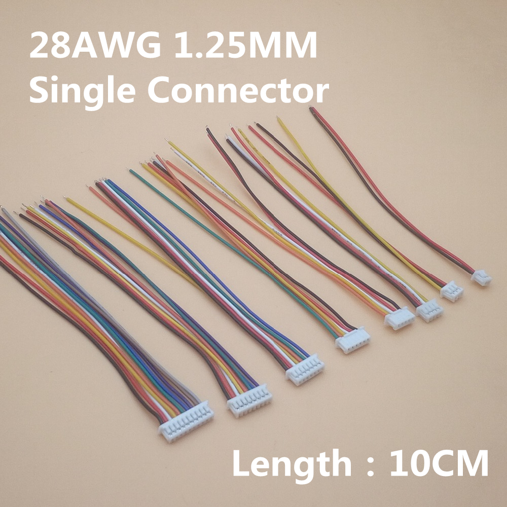 10Pcs/Lot 1.25mm Cable Connector 1.25 JST Single Electronic Wire Connectors 2/3/4/5/6/7/8/9/10 Pin 10cm DIY Line 28AWG