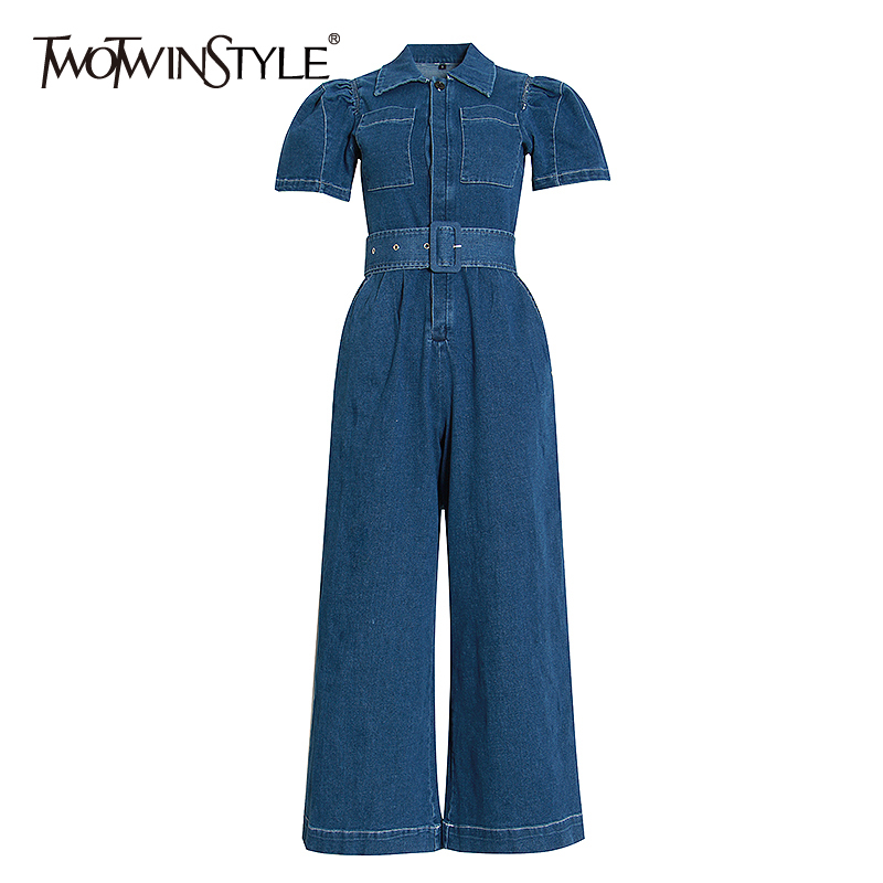 TWOTWINSTYLE Causal Rompers Womens Jumpsuit Lapel Collar Short Sleeve High Waist Lace Up Wide Leg Jumpsuits For Female Fashion