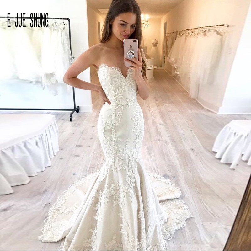 E JUE SHUNG Sexy Sleeveless Stain Mermaid Wedding Dresses Sweetheart Lace Appliques Bridal Gowns Lace Up Wedding Bridal Gowns