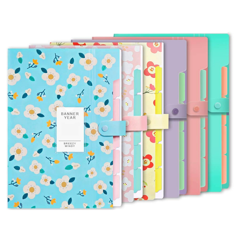 6Pcs Extended Pocket File Storage Bag Plastic A4 Size For School Teachers And Offices