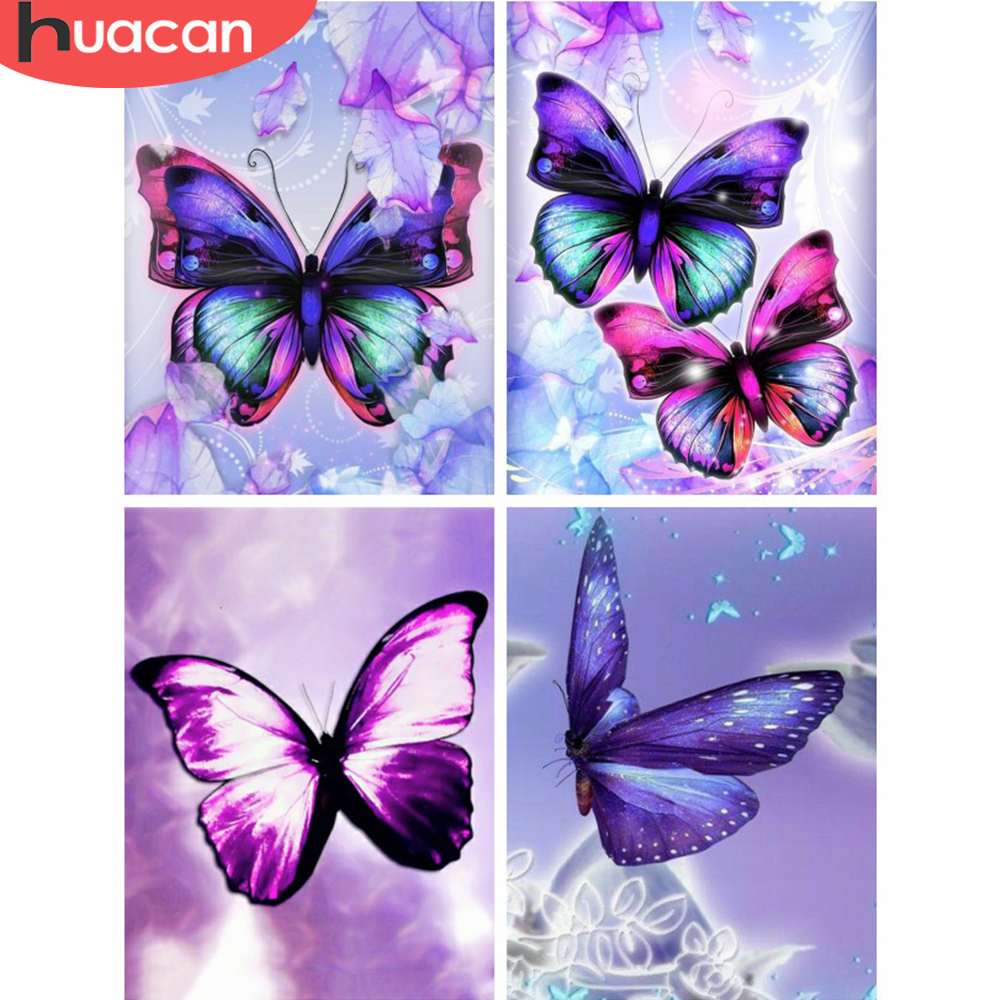 HUACAN 5D DIY Full Square Diamond Painting Animal Butterfly Mosaic Diamond Embroidery Decor Home Picture Of Rhinestone Handmade|Diamond Painting Cross Stitch| |  - title=