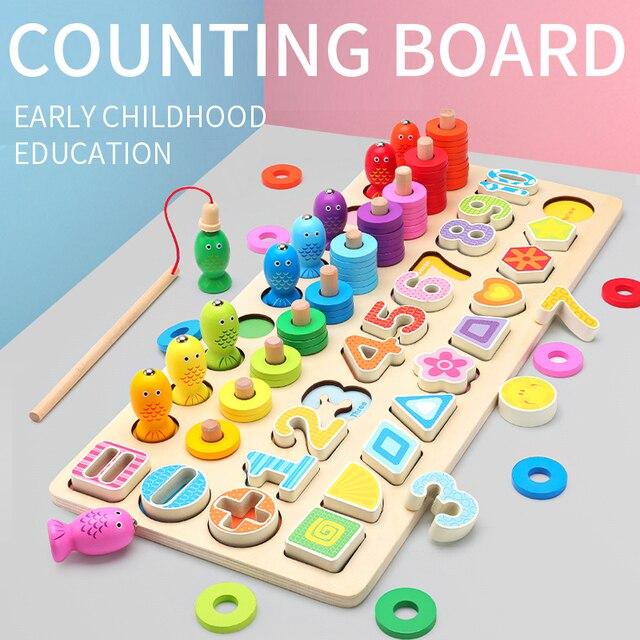 Blocks Children Educational Wooden Toys for Shape Cognition Match Fishing Multi-function Preschool Montessori Toys