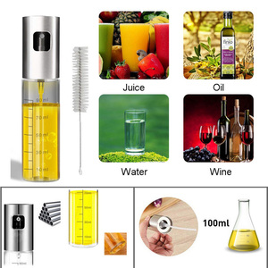 Image 3 - 100ml 2pcs Glass Olive Oil Sprayer with cleaning brush Empty Bottle Oil Dispenser Picnic Salad grilling Kitchen Cooking tool set