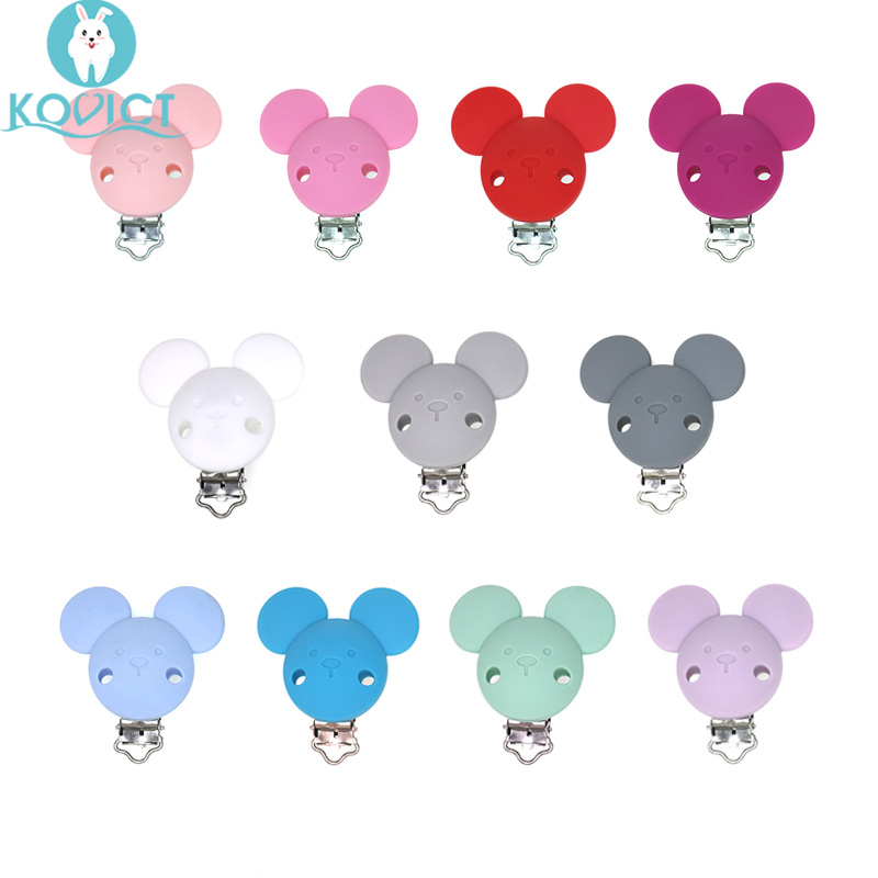 3Pcs Baby Pacifer Clips Mouse Shape Perle Silicone Teether Clip DIY Baby Dummy Chain Nipple Holder Soother Nursing Teething Toys