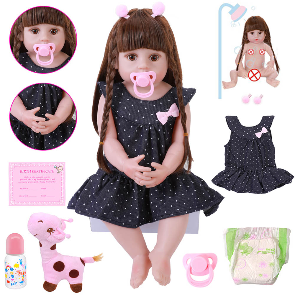 NEW 56CM Reborn Baby Toddler Doll Realistic Adorable Babies DOLL Very Soft Full Body Silicone Dolls Bath Toy Bonecas Xmas Gift(China)